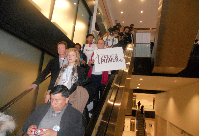 The escalator walk out. 800 leave the UN conference in protest to inaction. November 21st, 2013
