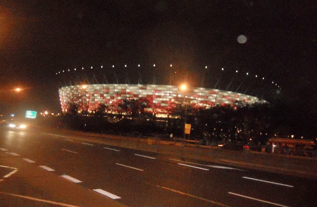 The National Stadium in Warsaw under a wan full moon; the scene of UN climate conference 19, November, 2013